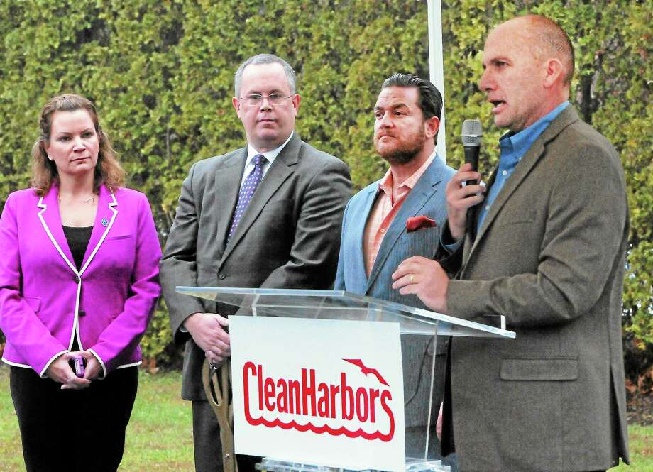 From left, Seymour Deputy First Selectwoman Nicole Klarides-Ditria, First Selectman W. Kurt Miller,  Economic Development Director Fred A. Messore and Clean Harbors Senior Vice President Scott F. Metzger are seen during the Clean Harbors office building grand opening Thursday in Seymour. Photo: Peter Hvizdak — New Haven Register      / ©Peter Hvizdak /  New Haven Register