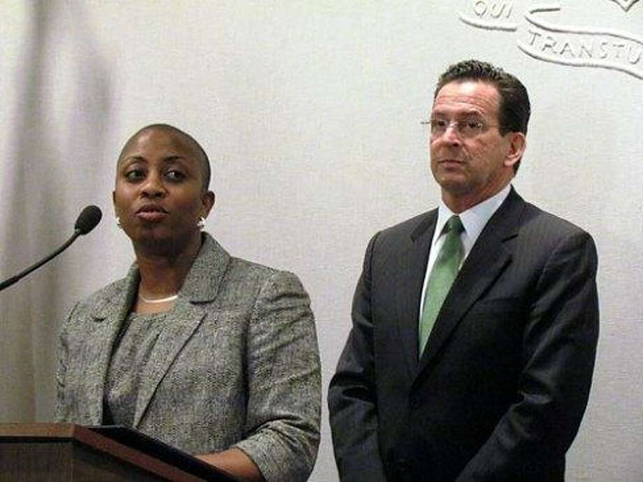 Board of Pardons and Paroles Chair Erika Tindill and Gov. Dannel Malloy. Christine Stuart/CT NewsJunkie file photo
