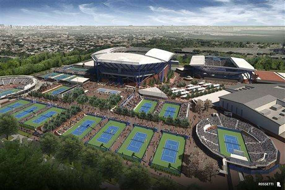 This undated artist's rendering provided by the U.S. Tennis Association and architectural firm Rossetti shows the USTA Billie Jean King National Tennis Center, including a retractable roof for Arthur Ashe Stadium. The USTA says a retractable roof will be constructed over Arthur Ashe Stadium, the main venue for the U.S. Open. The Ashe roof is part of a larger plan to rebuild and expand other courts at the Billie Jean King National Tennis Center. No. 2 stadium Louis Armstrong will eventually be covered, too. (AP Photo/USTA and Rossetti) Photo: AP / USTA and Rossetti