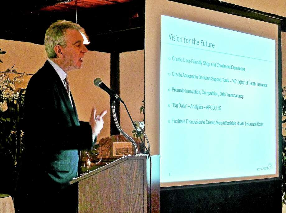 Patricia Villers — NEW HAVEN Register  Connecticut Health Insurance Exchange CEO Kevin J. Counihan addresses the Valley Council for Health and Human Services' annual meeting Tuesday in Derby. Photo: Journal Register Co.
