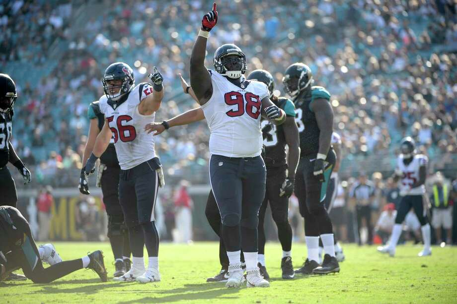 J.J. Watt and Jadeveon Clowney are the marquee names, but D.J. Reader completes the stellar Texans defensive line. Photo: Phelan M. Ebenhack, FRE / FR121174 AP