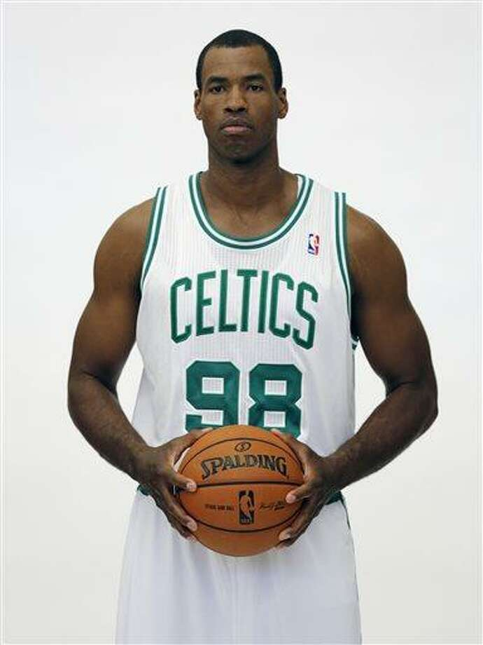 FILE - In a Friday, Sept. 28, 2012 file photo, Boston Celtics' Jason Collins poses during Celtics NBA basketball media day at the team's training facility in Waltham, Mass. NBA veteran center Collins has become the first male professional athlete in the major four American sports leagues to come out as gay. Collins wrote a first-person account posted Monday, April 29, 2013 on Sports Illustrated's website. He finished this past season with the Washington Wizards and is now a free agent. (AP Photo/Michael Dwyer, File) Photo: AP / AP