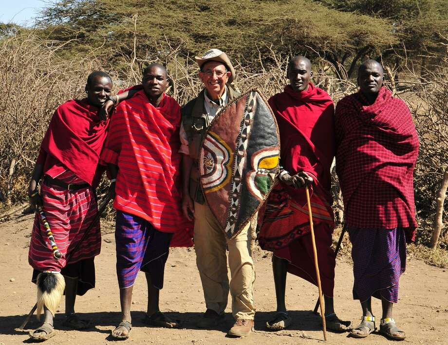 "Photo Courtesy The Earlville Opera House ""The Wonder of Africa,"" Image Title: Vic Rosenberg with Maasai, Tanzania, June 2011."