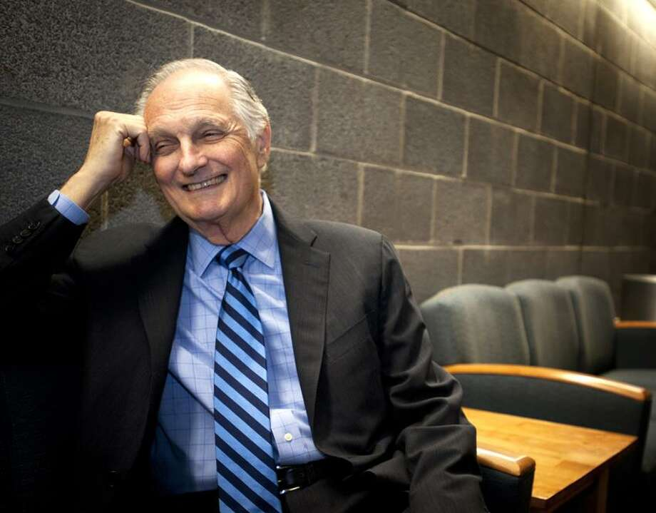 New Haven-Actor Alan Alda Chats in the Green Room Before beginning his lecture at Southern Connecticut State University.   Melanie Stengel/Register