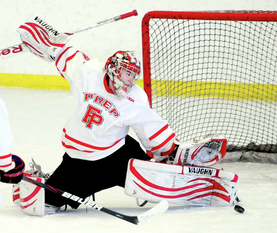 Fairfield Prep goalie Matt Beck blocks a shot in the first period against Notre Dame of West Haven in Bridgeport on 2/16/2013.Photo by Arnold Gold/New Haven Register