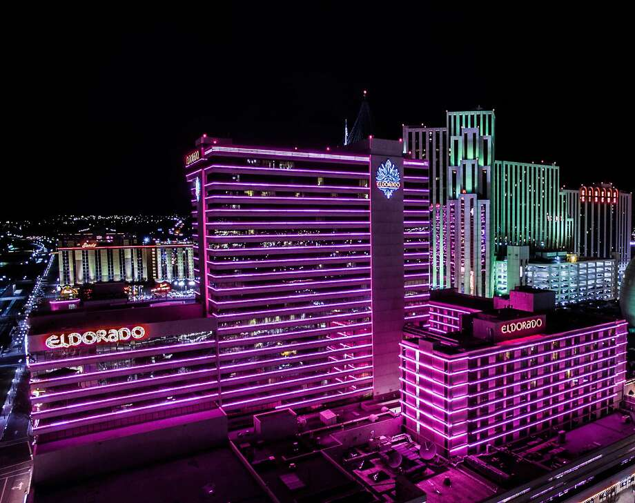 Although its exterior remains lined with pink neon, the Eldorado casino resort in Reno now offers renovated rooms and new dining and entertainment. Photo: Eldorado Resorts