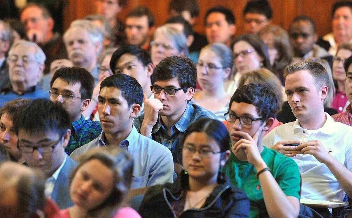 New Haven-- Students listens as Donald Kagan, Yale's Sterling Professor of Classics and History, gives his final lecture on Thursday afternoon. Photo-Peter Casolino/Register pcasolino@newhavenregister.com