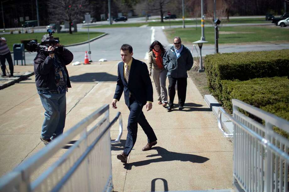 Alexander West, who is accused of manslaughter and other charges in the boating death of Charlotte McCue, 8, arrives at the Warren County courthouse in Queensbury, N.Y., April 18, 2017. The girl was killed when the 21-foot fiberglass powerboat  West was operating rammed an antique 28-foot wooden vessel carrying McCue's family home after a twilight cruise. (Nathaniel Brooks/The New York Times)