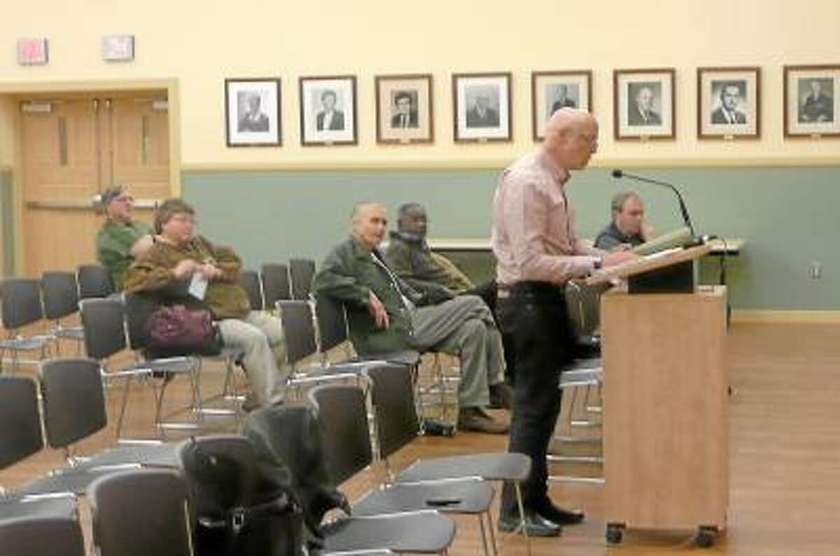 Martin Connor, city planner, addressed the city council about the Right to Farm ordinance at public hearing. Kate Hartman/Register Citizen.
