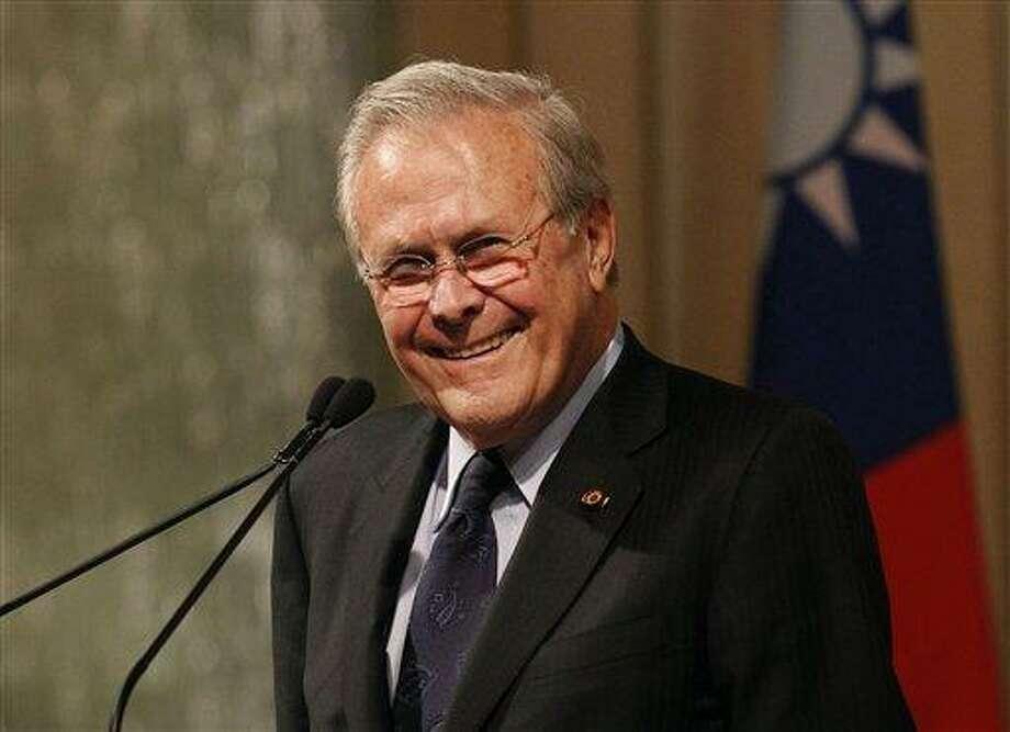 Former U.S. Secretary of Defense Donald Rumsfeld speaking in October 2011.(AP Photo/Wally Santana, file) Photo: AP / AP
