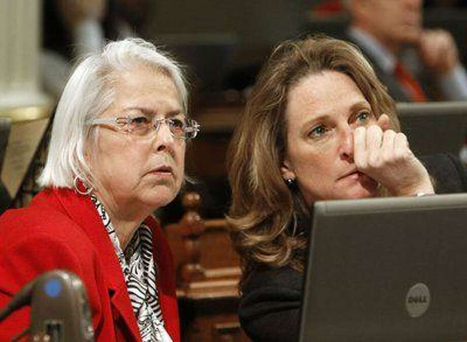 Assemblywoman Bonnie Lowenthal, D-Long Beach, left, is author of AB 1291. At right is Betsy Butler, D-Marina del Rey. (AP Photo) Photo: ASSOCIATED PRESS / AP2011