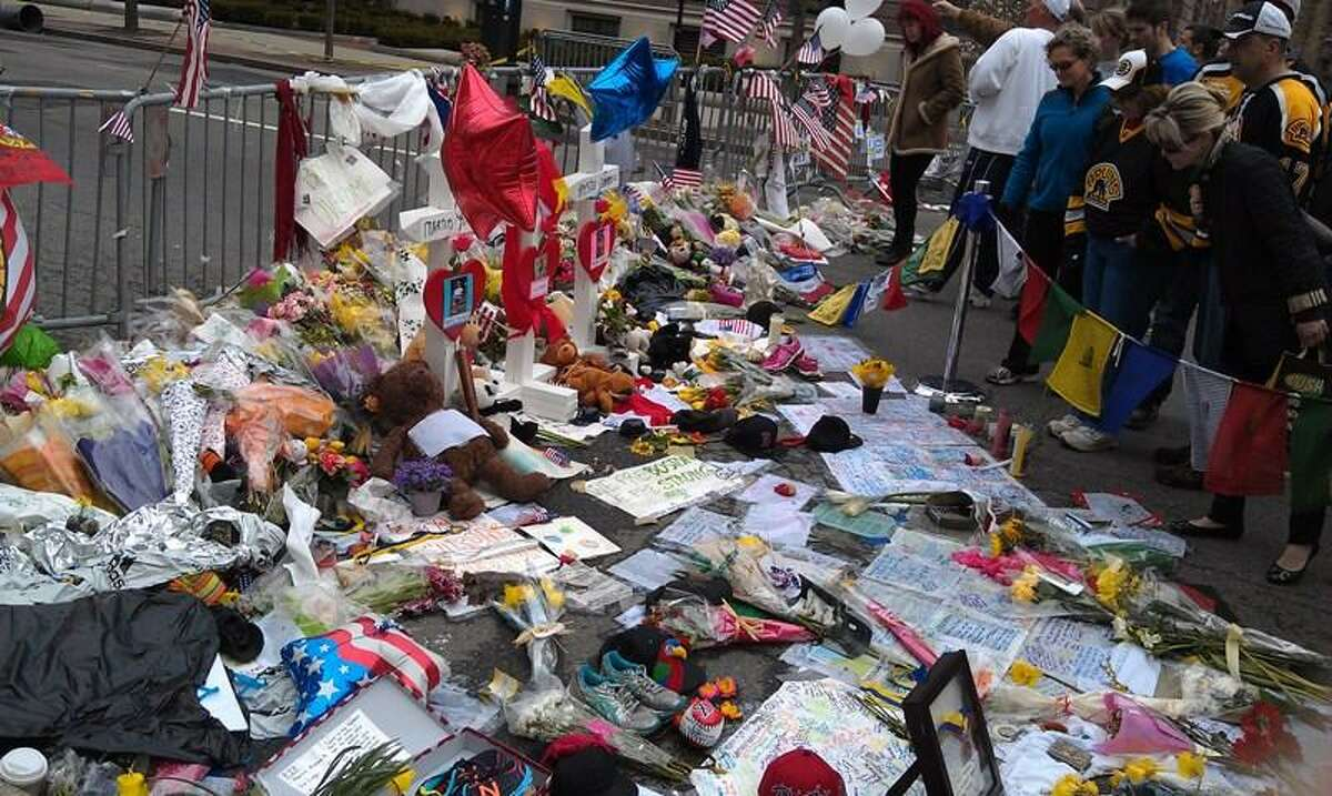 A memorial takes shape in Boston. Photo by Phil Demers