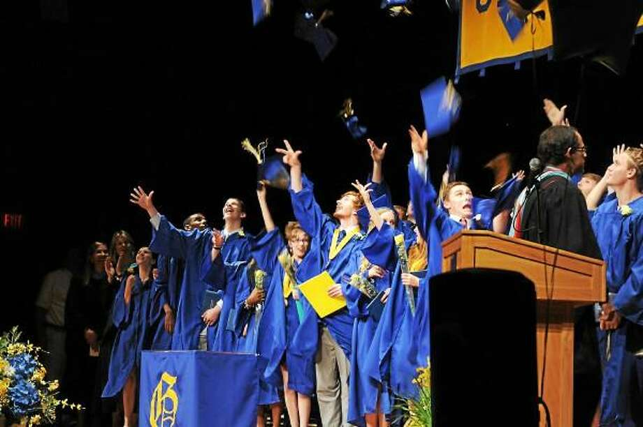 "The Gilbert School's class of 2013 celebrates after its graduation ceremony on Tuesday at the school in Winsted. See more photos online at <a href=""http://media.RegisterCitizen.com"">media.RegisterCitizen.com</a>. Laurie Gaboardi - Register Citizen"
