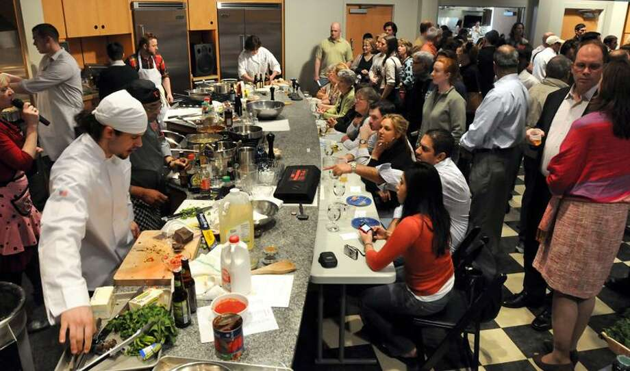 The Iron Chef--Elm City competition was held at Delia in Wallingford. Photo by Mara Lavitt/New Haven Register4/17/11
