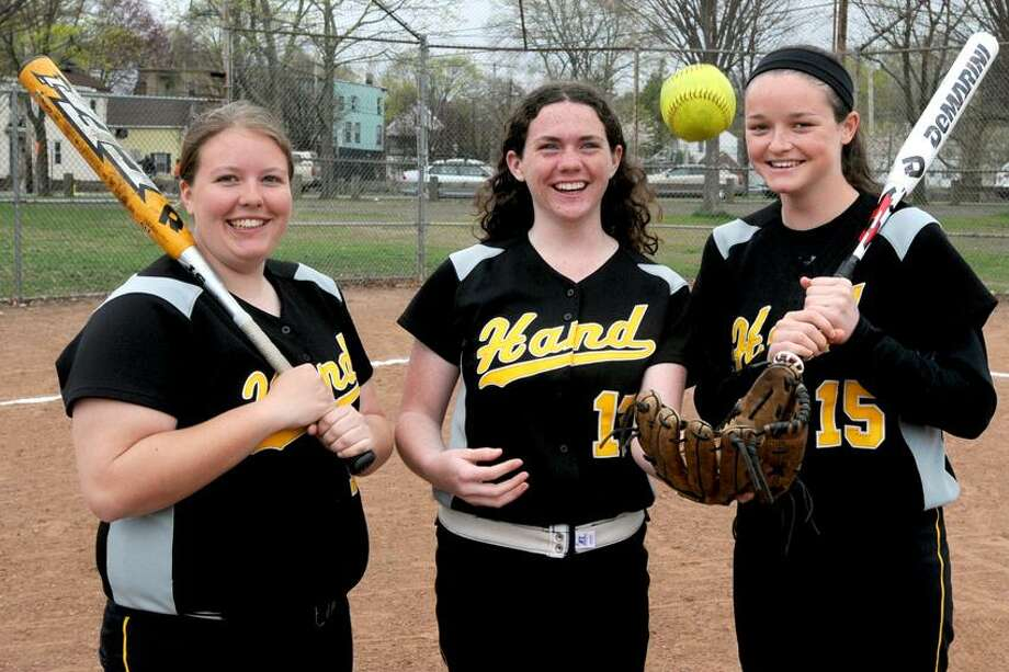 Hand softball team captains, from left to right: Sabrina Simpkins, Annie Horten and Kate Boudreau. The Tigers were voted the Register's Team of the Week.   Photo by Peter Hvizdak /New Haven Register Photo: New Haven Register / ©Peter Hvizdak /  New Haven Register