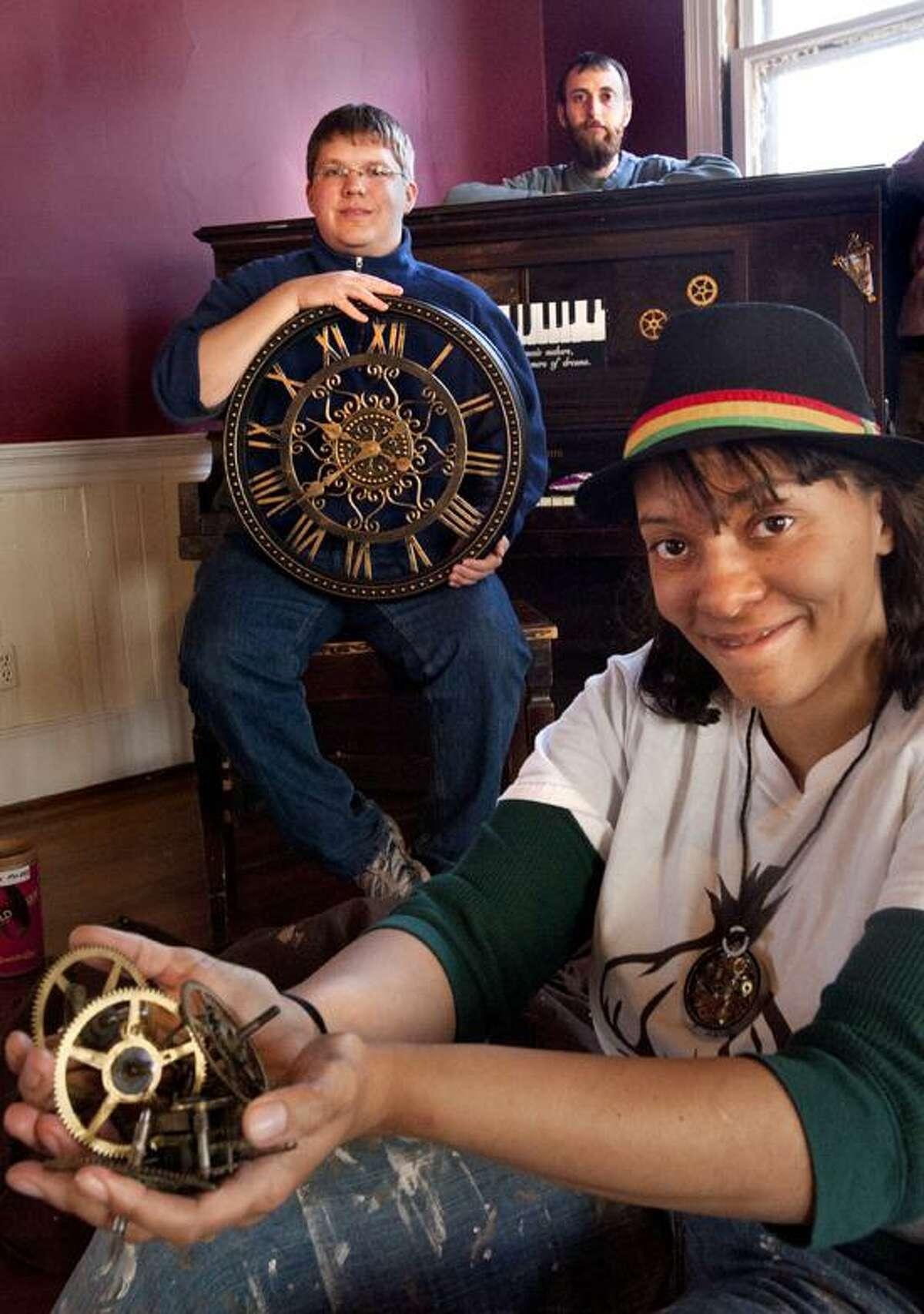 New Haven-Steam punk parts for steampunk piano at Episcopal Church. Melanie Stengel/Register