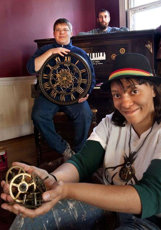 New Haven-Steam punk parts for steampunk piano at Episcopal Church.    Melanie Stengel/Register