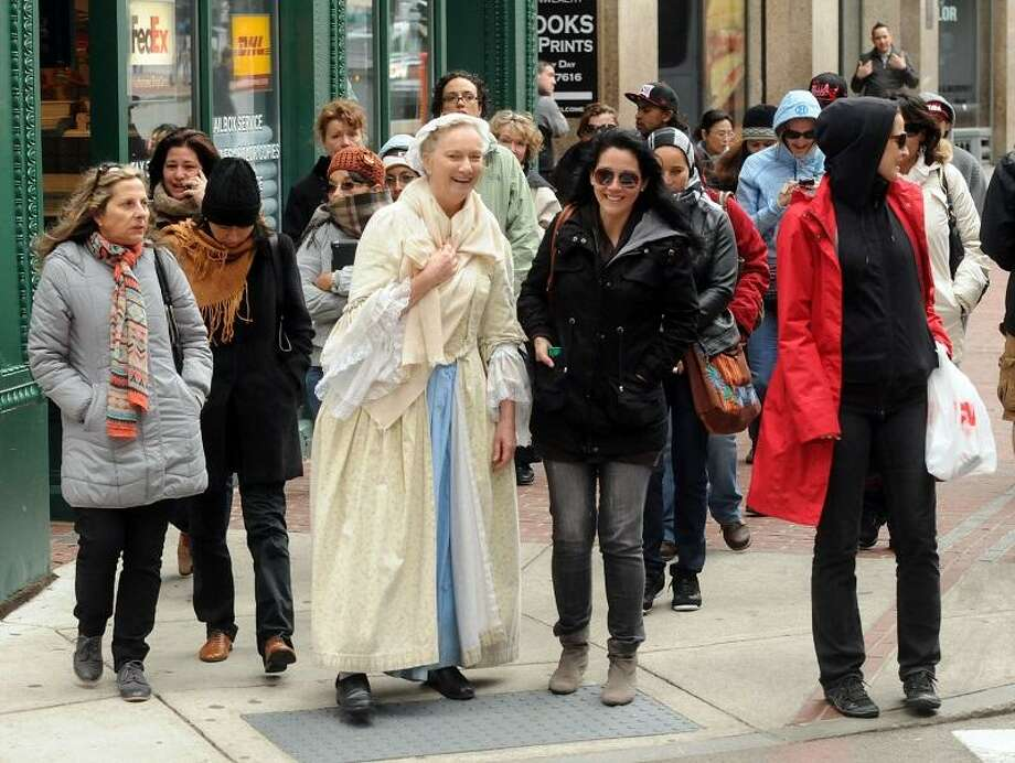 """Boston returned to normal with a vengeance on Saturday, including the Colonial Boston tours, this one near the Old South Meeting House. Mara Lavitt/New Haven Register <a href=""""mailto:mlavitt@newhavenregister.com"""">mlavitt@newhavenregister.com</a>4/20/13"""