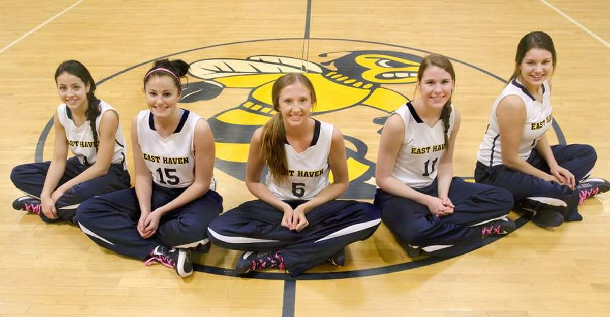 Pictured left to right: Alyssa Guarino, Danielle Polvan, Amanda Bradley, Amanda Jessey, Alissa Korwek. They are seniors on the East Haven girls' basketball team, the latest Register Team of the Week.