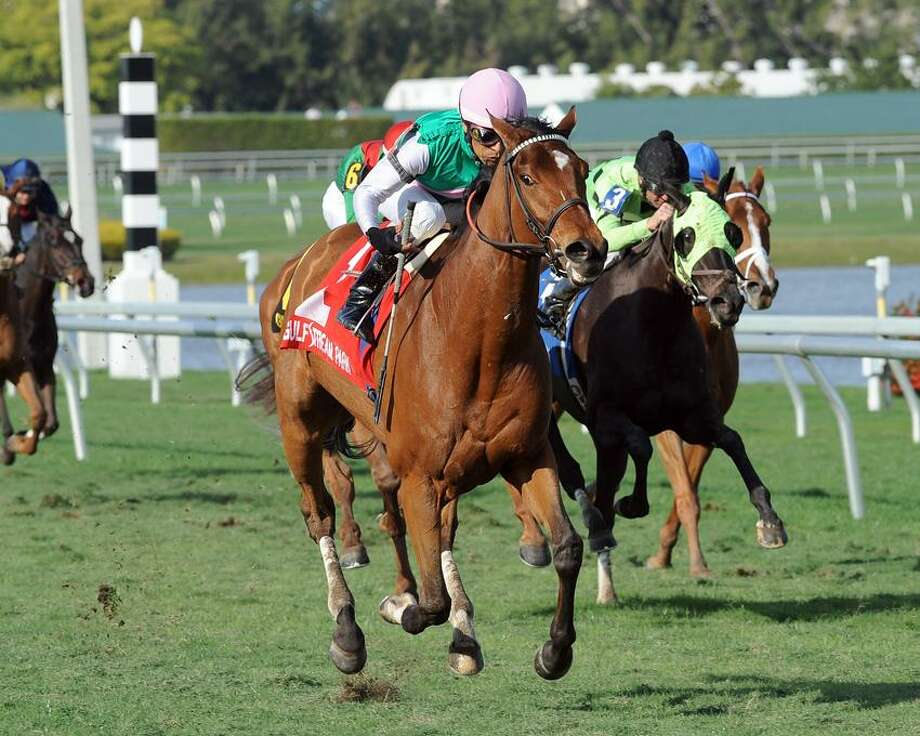 In this photo provided by Gulfstream Park, Starformer, foreground, with Edgar S. Prado aboard, captures The Very One (Grade III) horse race at Gulfstream Park, Saturday, Feb. 16, 2013, in Hallandale Beach, Fla. (AP Photo/Gulfstream Park) Photo: AP / Gulfstream Park