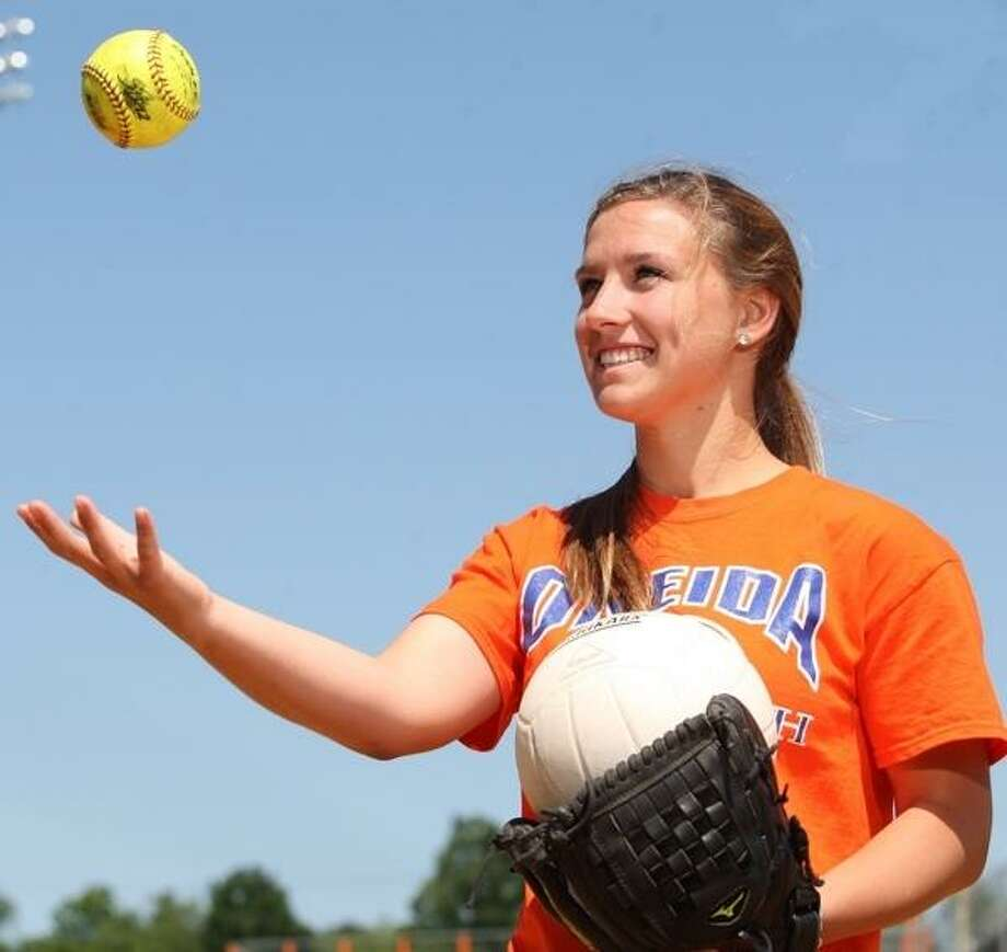 JOHN HAEGER @ONEIDAPHOTO ON TWITTER/ONEIDA DAILY DISPATCH Oneida's Emily LaSalle has done it all as a tri-sport athlete, rotating into nearly every position during her athletic career.