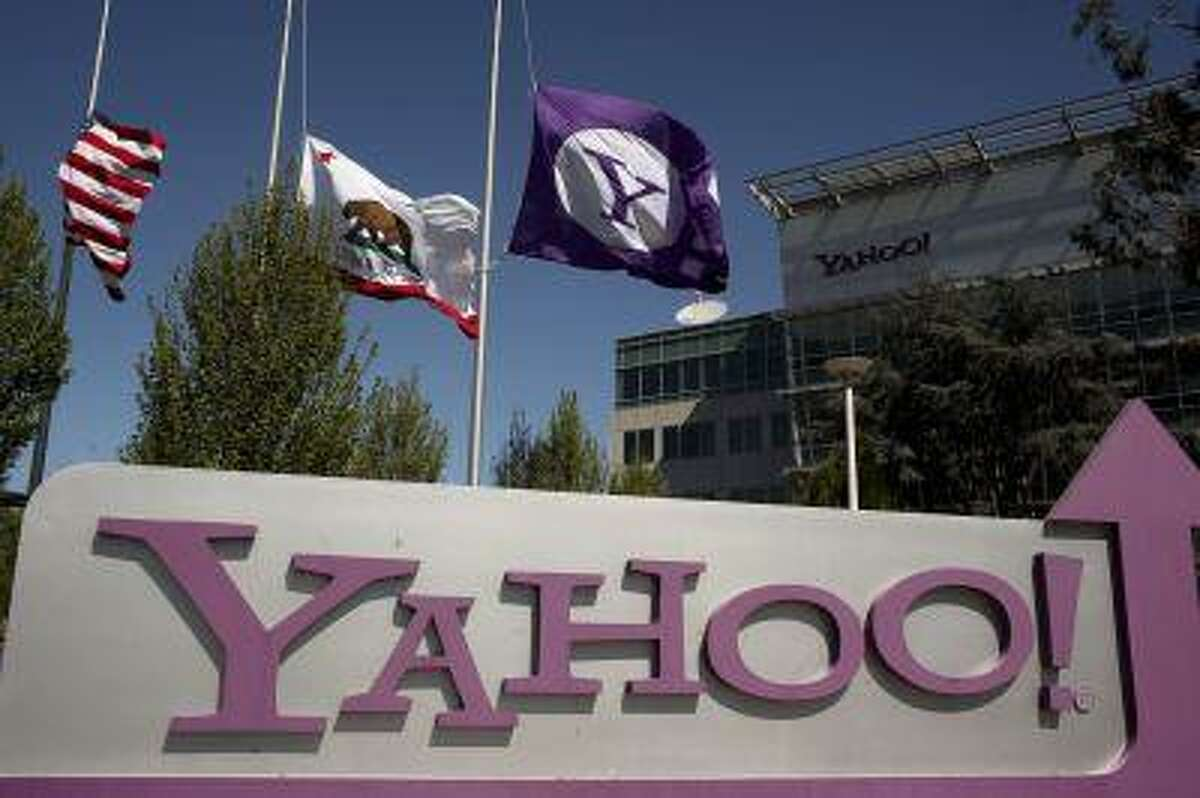 The Yahoo logo is shown at the company's headquarters in Sunnyvale, California April 16, 2013.