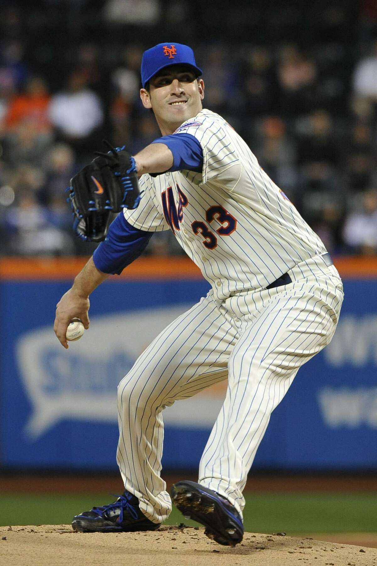 New York Mets starting pitcher Matt Harvey (33) throws against the Washington Nationals in the first inning of a baseball game at Citi Field, Friday, April 19, 2013 in New York. (AP Photo/Kathy Kmonicek)