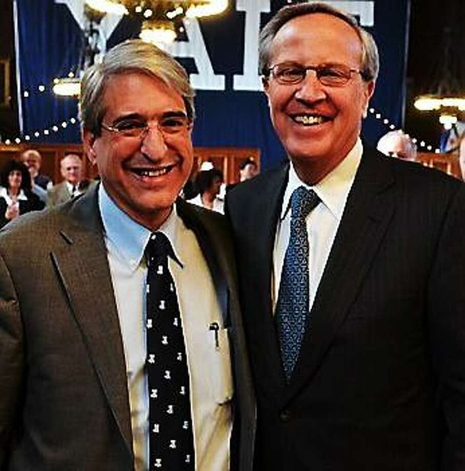 Yale President-elect Peter Salovey, left, and President Richard C. Levin.