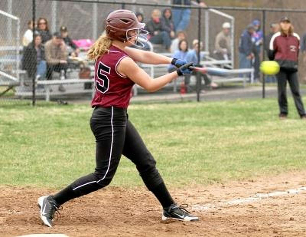 Torrington outfielder Brittany Anderson connects for a triple. Photo by Marianne Killackey/Special to Register Citizen