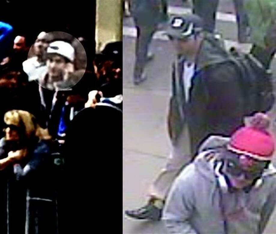 The left photo shows in a image from video what the FBI is calling suspect number 2 with a white hat, highlighted, walking in Boston on Monday, April 15, 2013, before the explosions at the Boston Marathon. The right photo shows in a image from video what the FBI is calling suspect number 1 with a black hat walking with a backpack. Photos released by the FBI. Photo: Ap / FBI