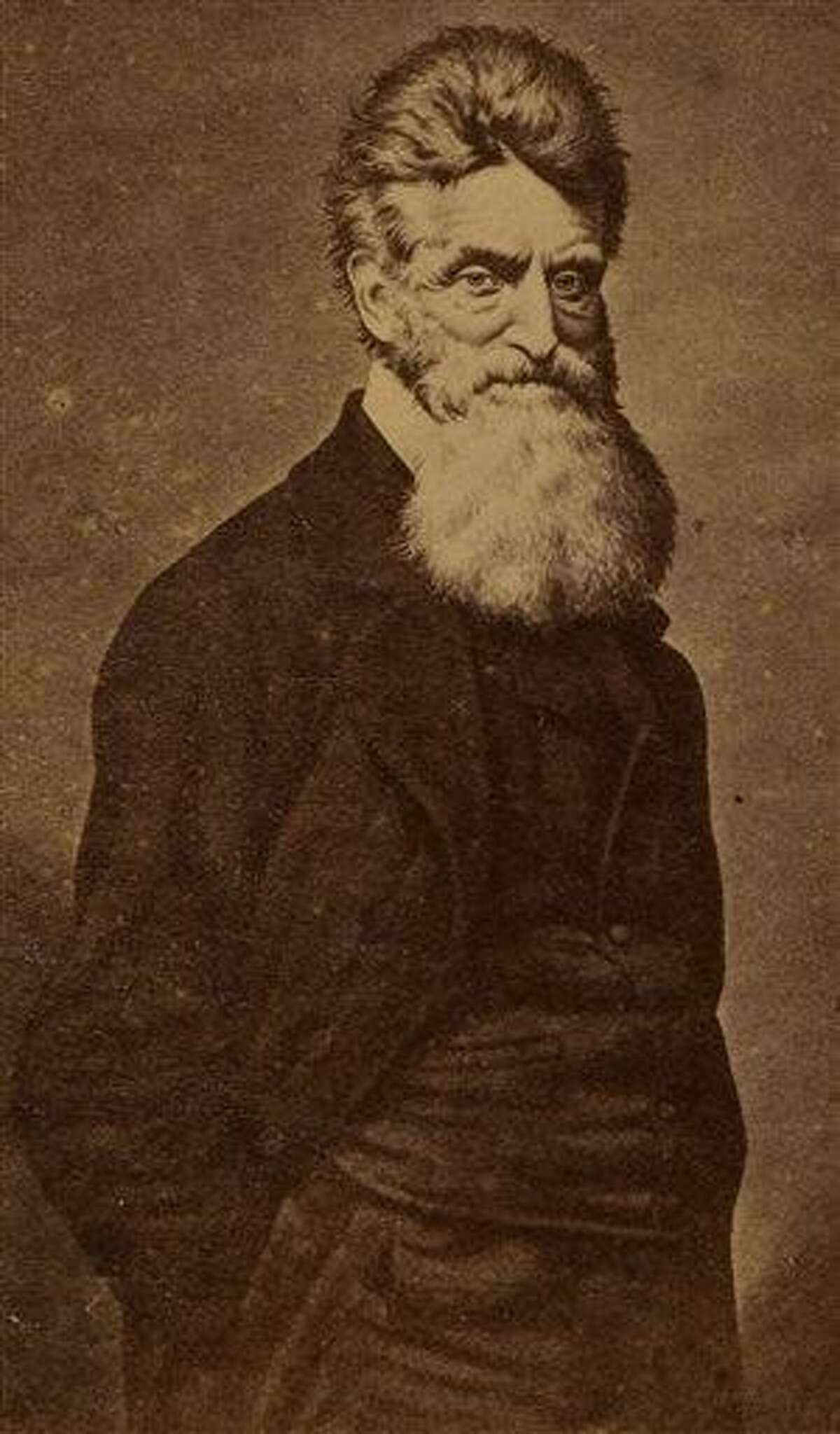 This June 17, 2013 provided by Heritage Auctions, shows a Carte De Visite of John Brown, likely as he looked close to the time of his failed raid on Harper's Ferry W. Va. John Brown's capture of the Federal Arsenal at Harper's Ferry on Oct. 17, 1859 as part of a failed attempt to incite a slave uprising is seen by most historians as the spark that ignited the Civil War. (AP Photo/Heritage Auctions)