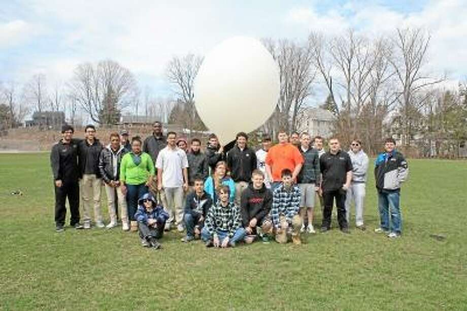 Contributed photo. Students from Wolcott Tech, UConn and Cheney Tech launched a weather balloon in Torrington.