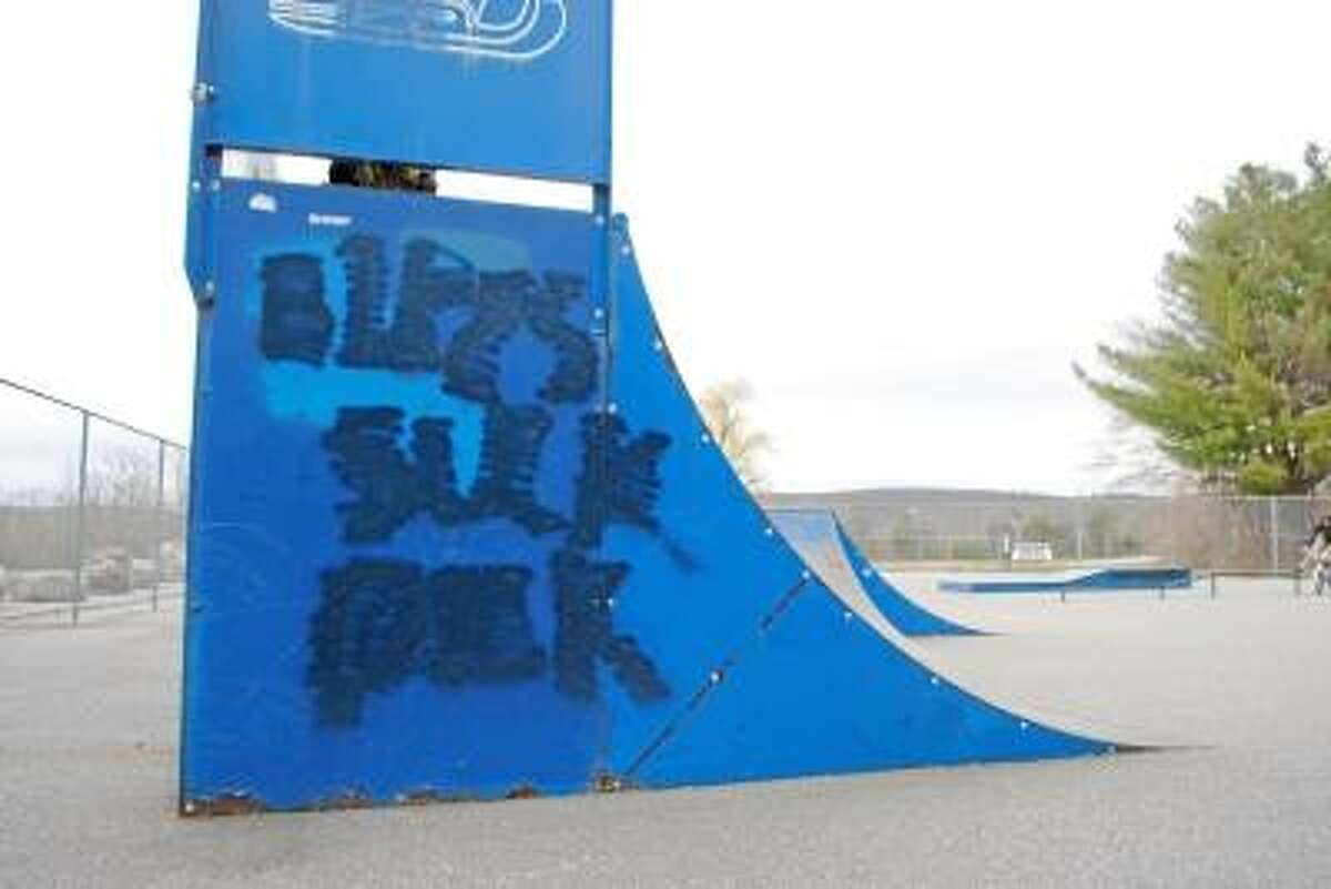 Jessica Glenza / Register Citizen -- Torrington skate park was marred with racist and homophobic graffiti, park users say on Tuesday.