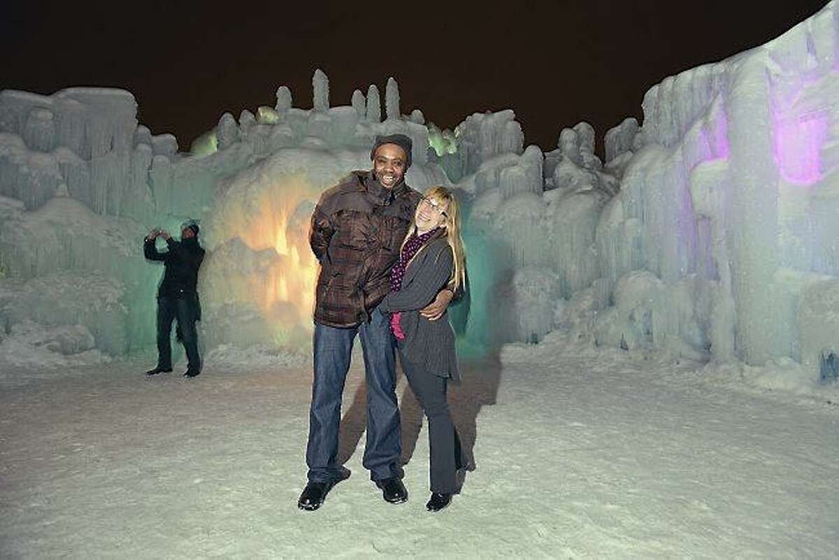 Tiffany Isenberg and James Quarterman are photographed at the ice castle at the Mall of America in Bloomington, Thursday, February 7, 2013. They are one of 11 couples to wed on Valentine's Day after winning a contest. Organizers were especially touched by their story. James has terminal cancer and the couple want to marry before he passes. (Pioneer Press: Chris Polydoroff)