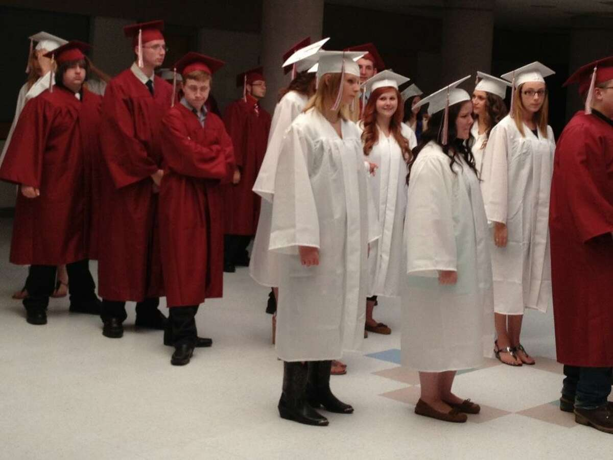 Photo by Jolene Cleaver, Oneida Dispatch >> Students waiting to graduate Friday night at Stockbridge Valley Central School.
