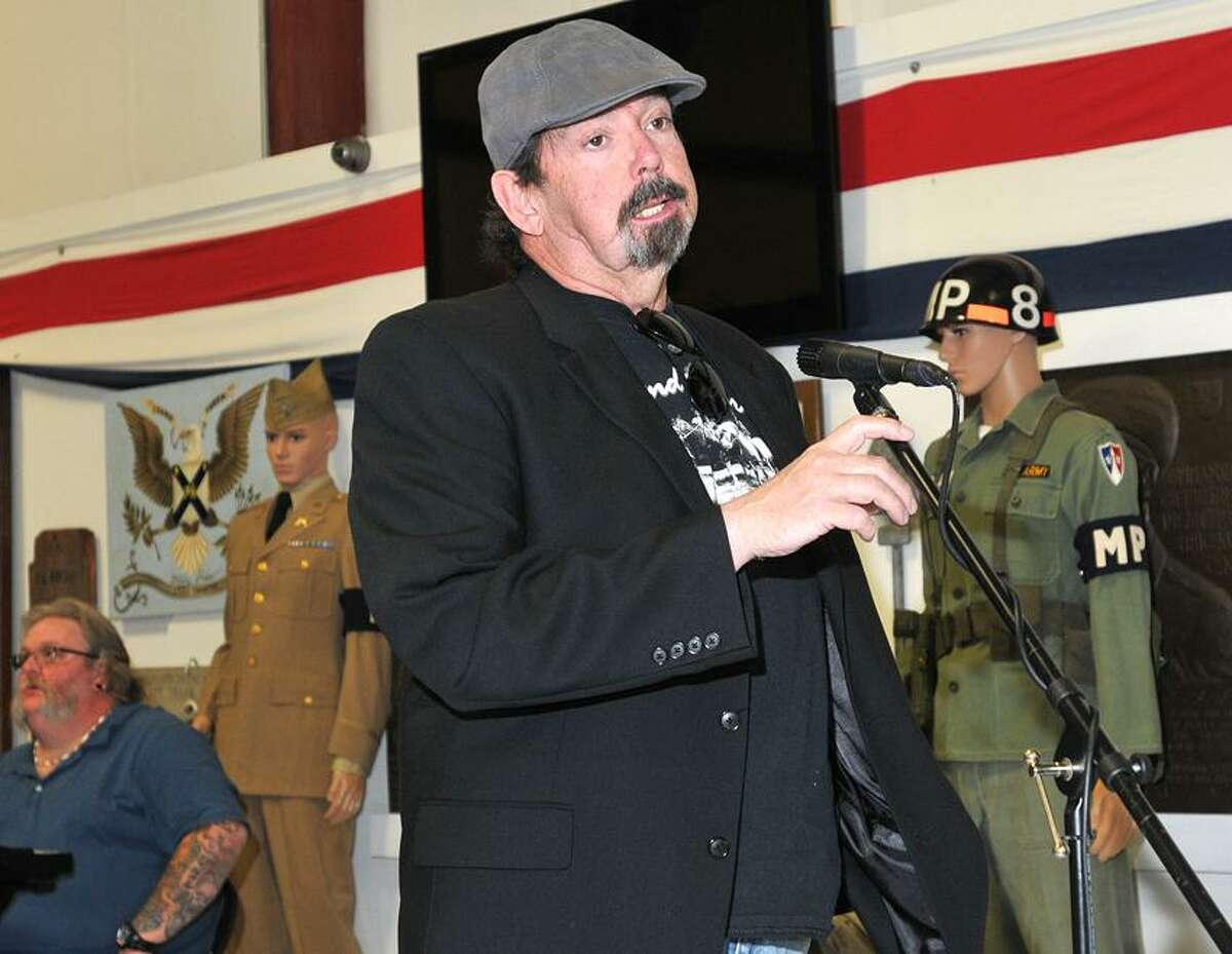 West Haven--Vietnam veteran Tony Arnold speaks about how art therapy has helped him during a reception for