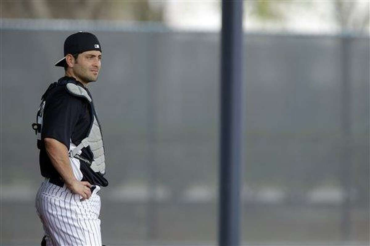 New York Yankees' Francisco Cervelli in action during a workout at baseball spring training, Wednesday, Feb. 13, 2013, in Tampa, Fla. (AP Photo/Matt Slocum)