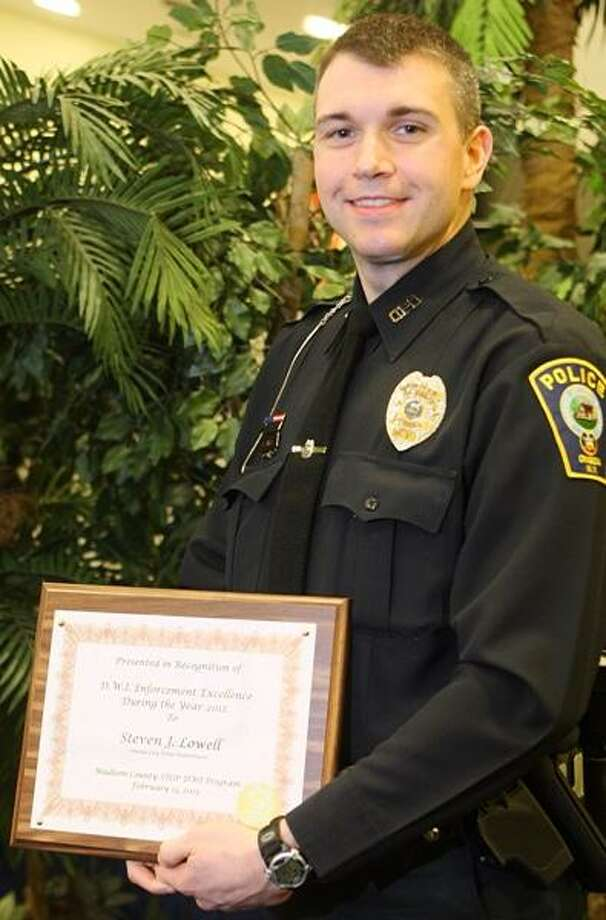 JOHN HAEGER @oneidaphoto on Twitter/Oneida Daily Dispatch Steven Lowell of the Oneida City Police Department was this year's recipient of the Karl Taylor award for his Stop DWI work. Photo: Oneida Daily Dispatch / Oneida Daily Dispatch