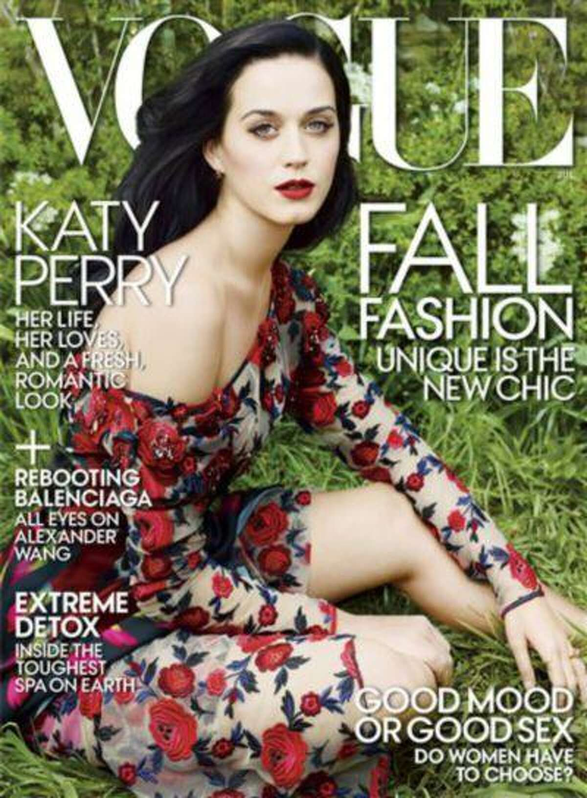 This publicity photo provided by Vogue shows singer Katy Perry on the July 2013 cover of Vogue magazine, photographed by Annie Leibovitz. The new issue goes on sale nationwide June 25, 2013. (AP Photo/Vogue, Annie Leibovitz)