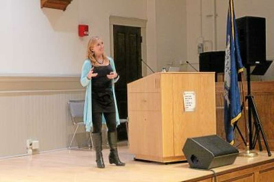 JASON SIEDZIK/ Register Citizen Roz Savage, who is the first woman to row across the Atlantic, Pacific and Indian Oceans solo, was the featured speaker Wednesday night for the spring session of the Rose B. Nader lecture series.