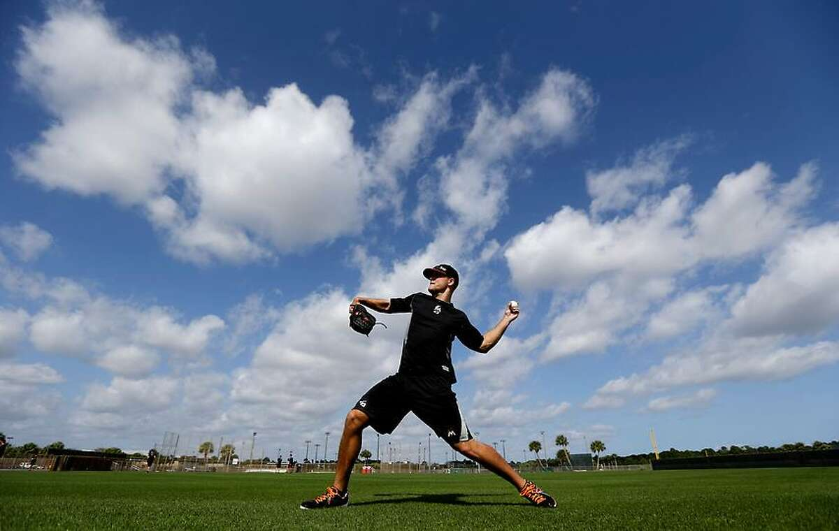 Miami Marlins pitcher Dan Jennings throws a ball before the official start of spring training baseball, Monday, Feb. 11, 2013, in Jupiter, Fla. (AP Photo/Julio Cortez)