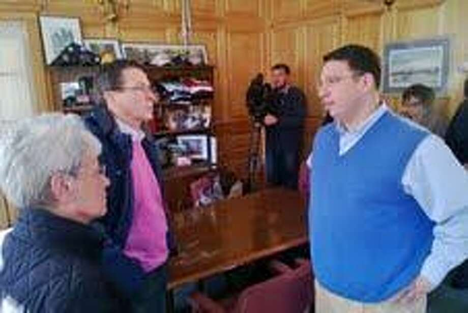 Gov. Malloy meets with Milford Mayor Ben Blake at City Hall in Milford/Neal McNamara for the Register
