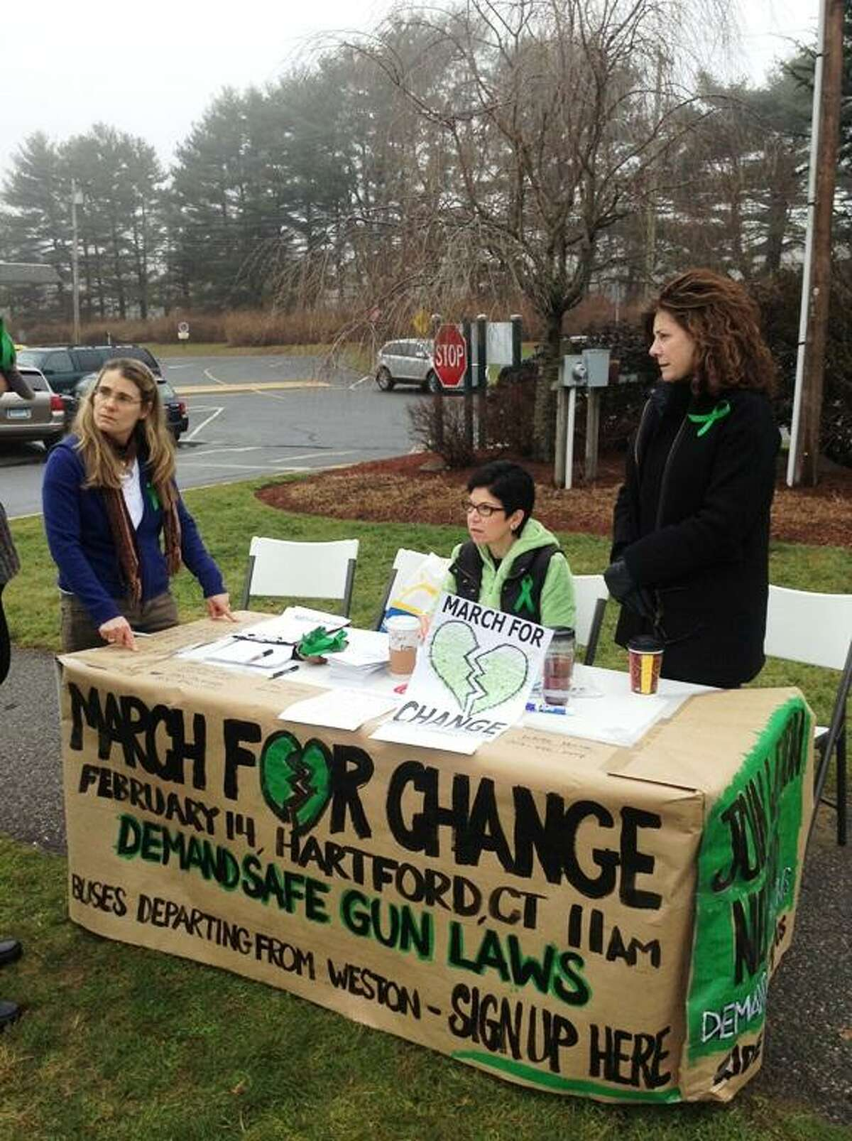 Three moms who have helped organize the March for Change are getting the word out about gun laws. From left, Kendall Webb, Jan Dinerstein, and Kerry Brock will be at the march on Thursday.