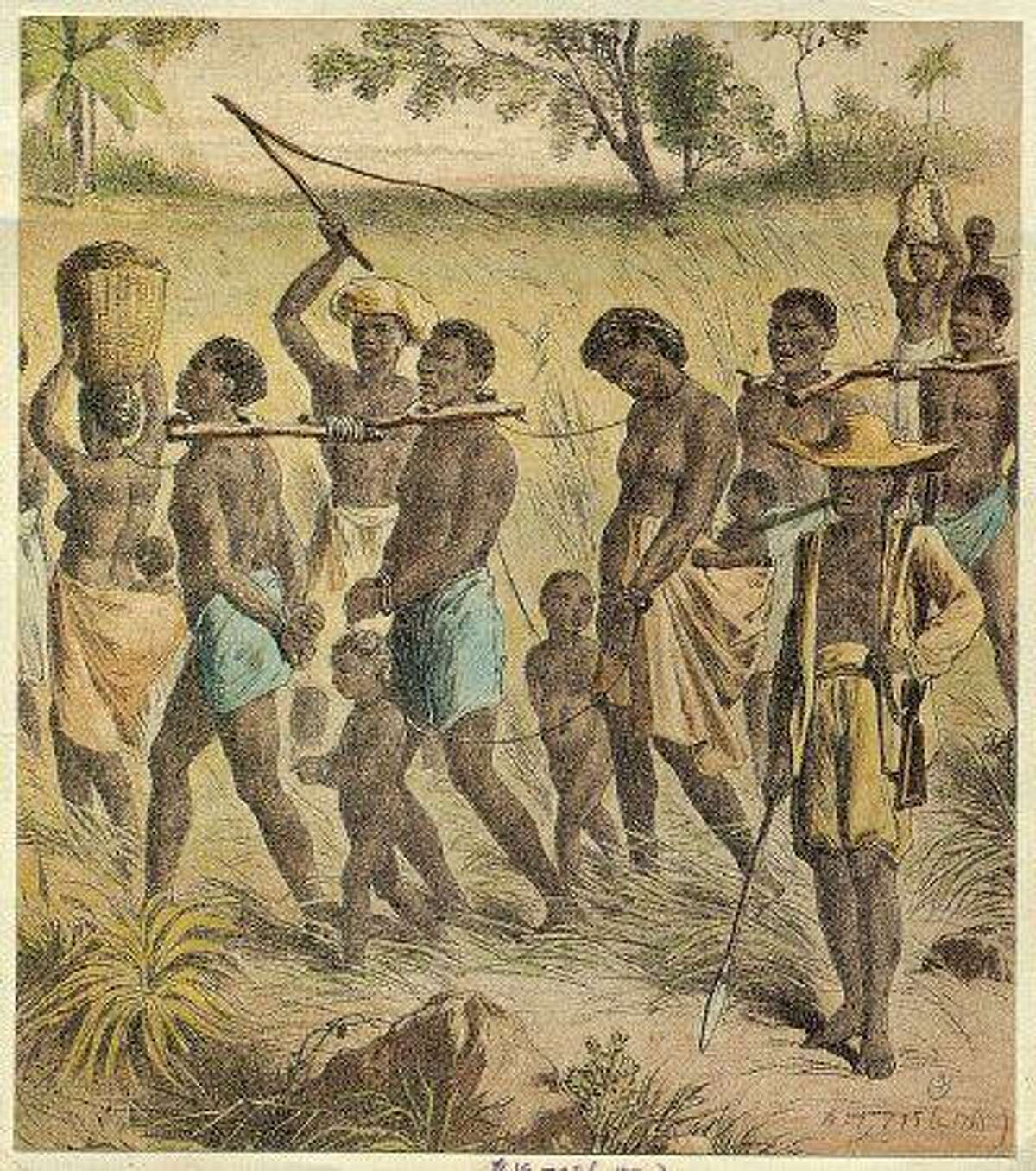 This is an undated photo of an illustrated depiction of slaves in captivity. (AP Photo)