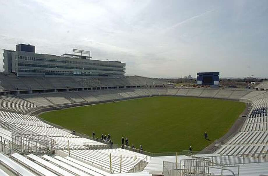 Rentschler Field in East Hartford, Conn., the soon-to-be home of the University of Connecticut football team, is nearly completed as seen in this view Thursday, April 17, 2003. The stadium will accomodate 40,000 fans. (AP Photo/Bob Child) Photo: ASSOCIATED PRESS / AP2003