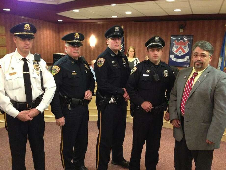 Mayor Anthony Candelora, right, with (from left) Lt. David D'Ancicco, Sgt. David Madoule and Officers Tim Cunningham and James Lovelace.