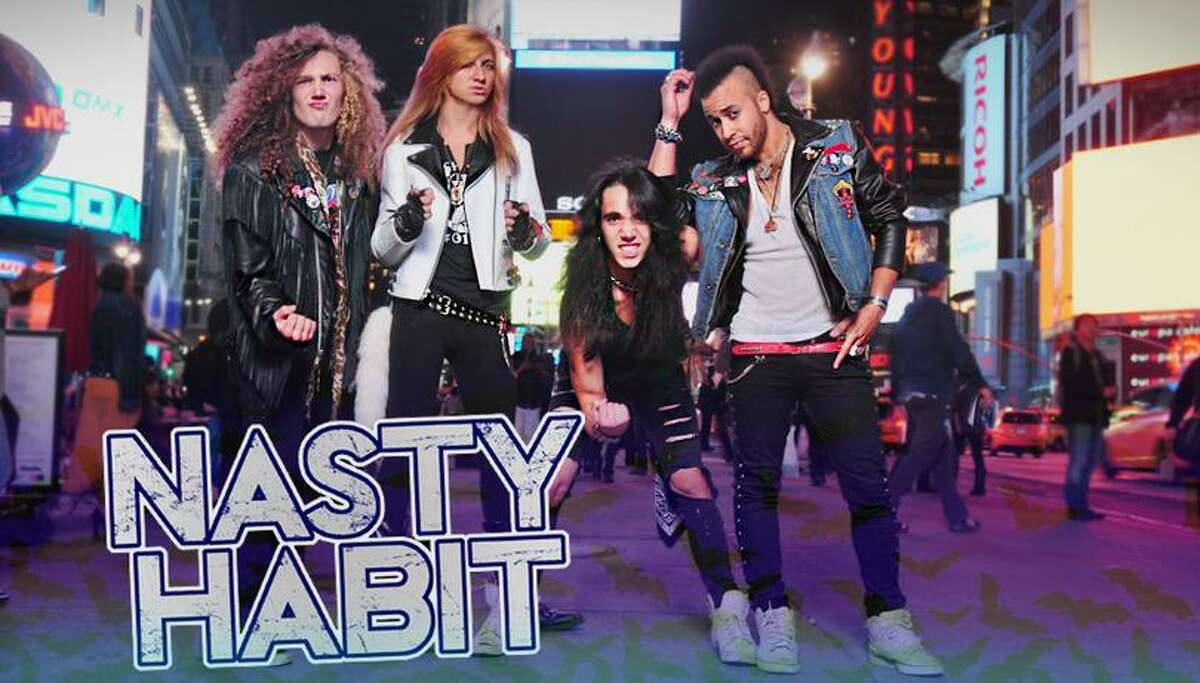 (Photo from nastyhabitkills.com) Nasty Habit, featuring, from left, Kenny Ende, Frank Wheeler, Tommy Ende, and David Jordan, will bring back the energy of 80s hair band hard rock at Syracuse's Club Fusion Feb. 15. Also on the bill are Coston, Catastrophe Me, and Project 6.
