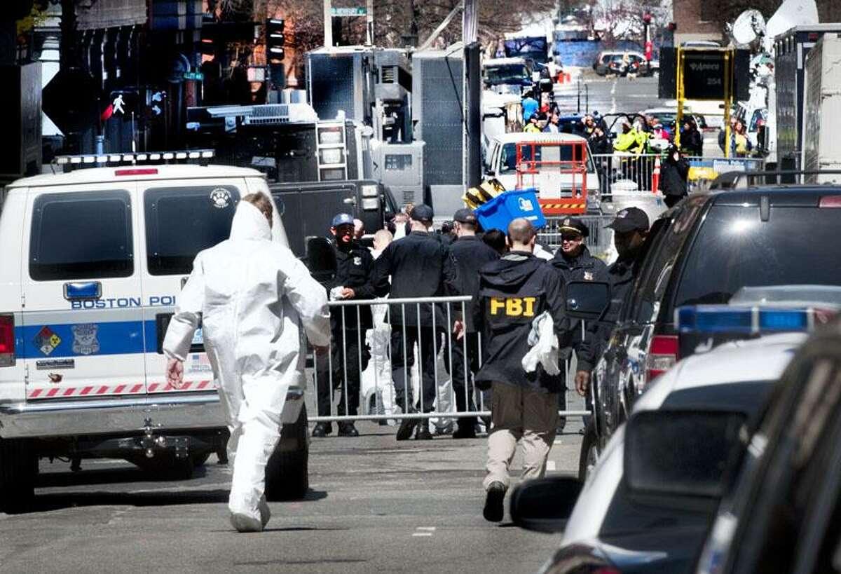 Boston-Exiter Street leading down to the site of the second bomb blast. Melanie Stengel/Register