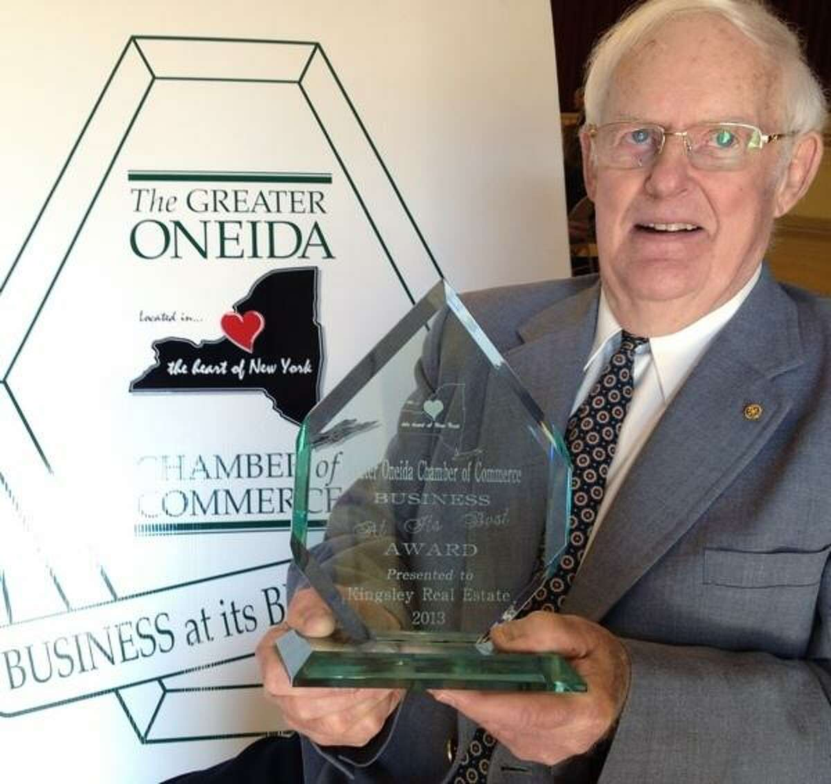 JOHN HAEGER @ONEIDAPHOTO ON TWITTER/ONEIDA DAILY DISPATCH Don Kingsley of Kingsley Real Estate recipient of the Greater Oneida Chamber of Commerce Busnessis At Its Best Award on Wednesday, June 19, 2013 in Oneida.