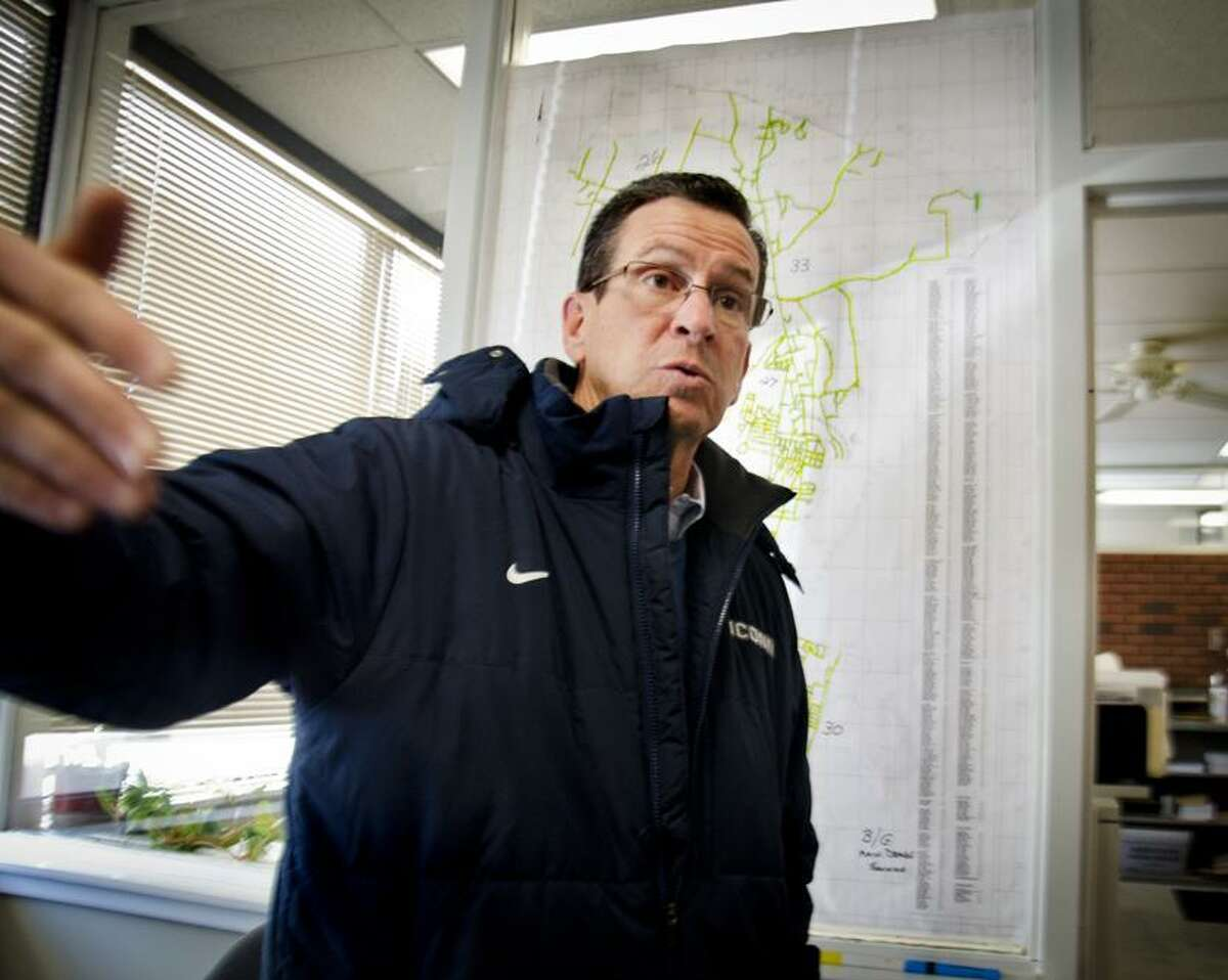 Hamden-- Gov Dannel Malloy tells people to treat this storm like the emergency that it is, amd to stay off of the roads so that crews can work. Malloy was speaking at Hamden Public Works. Hamden Mayor Scott Jackson has declared a State of Emergency for the city. Melanie Stengel/Register